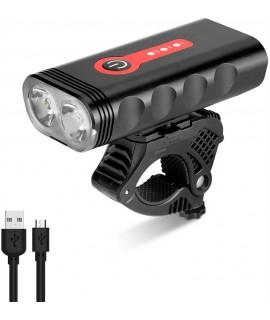 Luce bici anteriore 1000 Lumen con batteria integrata ricaricabile USB